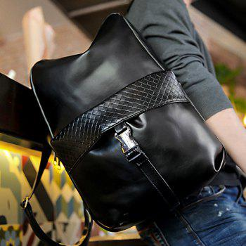 Stylish Solid Colour and Plaid Pattern Design Men's Backpack - BLACK BLACK
