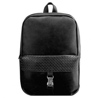 Stylish Solid Colour and Plaid Pattern Design Men's Backpack - BLACK