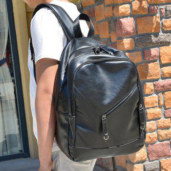 Fashionable Solid Colour and Zippers Design Men's Backpack -  BLACK