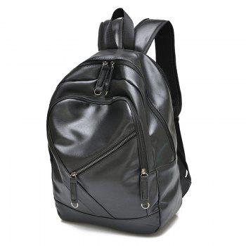 Fashionable Solid Colour and Zippers Design Men's Backpack - BLACK BLACK
