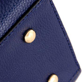 Fashion Metal and PU Leather Design Women's Tote Bag -  DEEP BLUE
