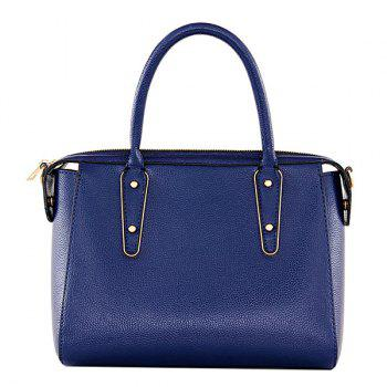 Fashion Metal and PU Leather Design Women's Tote Bag - DEEP BLUE DEEP BLUE