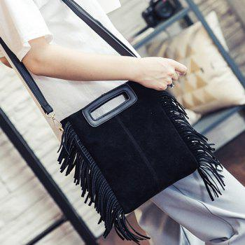 Trendy Faux Suede and Fringe Design Women's Crossbody Bag