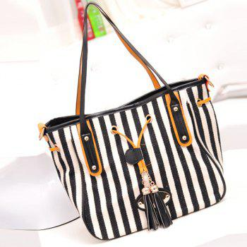 Stylish Striped and Tassel Design Women's Shoulder Bag - BLACK BLACK