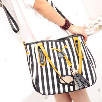Stylish Striped and Tassel Design Women's Shoulder Bag -  BLACK