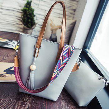 Leisure Tassel and Wooden Bead Design Women's Shoulder Bag
