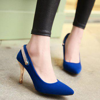 Stylish Flock and Metallic Design Women's Pumps - 40 40
