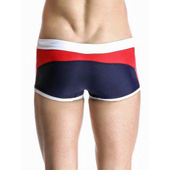 Drawstring Waistband Design Casual Color Block Swimming Trunks For Men - DEEP BLUE XL