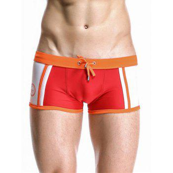 Drawstring Waistband Design Casual Color Block Swimming Trunks For Men