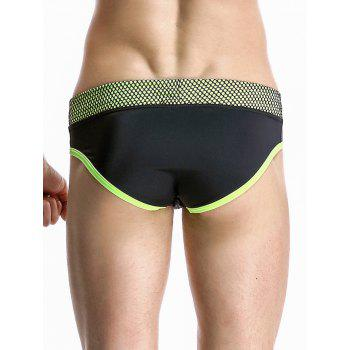 Color Block Spliced Stylish Mesh Hem Design Swimming Briefs For Men - BLACK XL