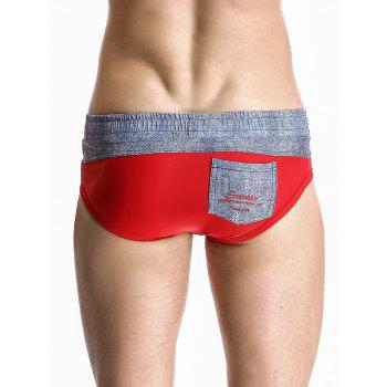 Stylish Color Block Spliced Drawstring Waistband Design Swimming Briefs For Men - RED L
