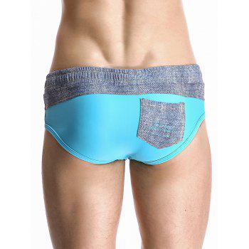 Stylish Color Block Spliced Drawstring Waistband Design Swimming Briefs For Men - LAKE BLUE M