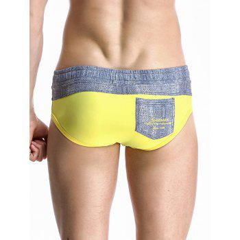 Stylish Color Block Spliced Drawstring Waistband Design Swimming Briefs For Men - YELLOW M