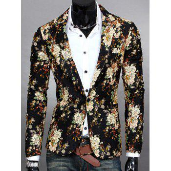Flowers Print Lapel One Button Design Men's Blazer