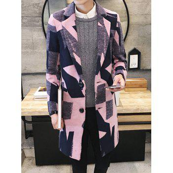 Elegant Geometric Print Lapel Collar Long Sleeves Wool Coat For Men