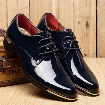 Trendy Patent Leather and Tie Up Design Men's Formal Shoes - 42 42