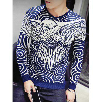 Eagle Swirl Pattern V-Neck Long Sleeve Men's Sweater