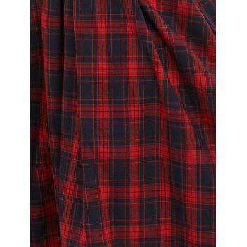Vintage 3/4 Sleeve V Neck Plaid Knee-Length Dress - RED 2XL