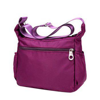 Concise Zippers and Nylon Design Women's Shoulder Bag -  ROSE RED