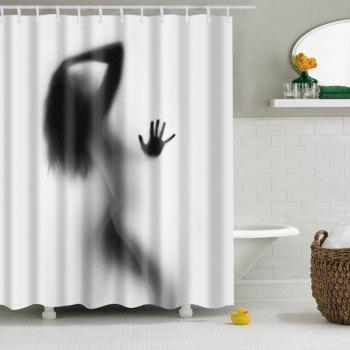 Hot Sale Eco-Friendly Charming Figure Printing Shower Curtain For Bathroom - BLACK AND GREY BLACK/GREY