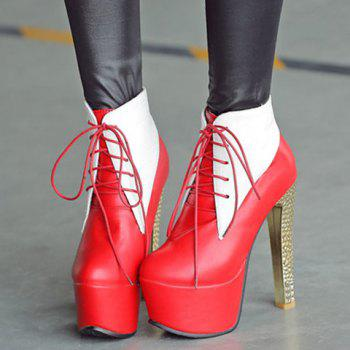 Trendy Color Splicing and Embossing Design Women's Ankle Boots - RED 39