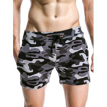 Drawstring Waistband Camo Bomber Lounge Shorts For Men - GRAY GRAY