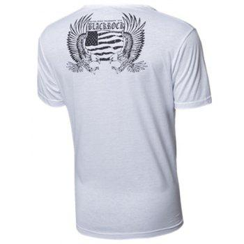 Skull and Feather Print Round Neck Short Sleeve Men's T-Shirt - WHITE L