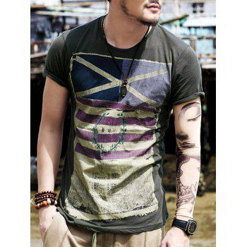Crew Neck Stripe Distressed Flag Print T-Shirt - DEEP GRAY S