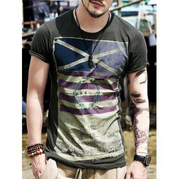 Crew Neck Stripe Distressed Flag Print T-Shirt - DEEP GRAY M