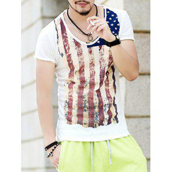 Vintage Star and Stripe Print Round Neck Short Sleeve Men's T-Shirt - WHITE S