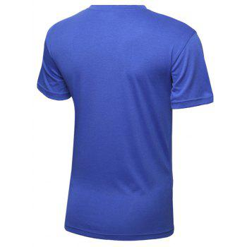 Color Block Letters Printed Round Neck Short Sleeve Men's T-Shirt - BLUE XL