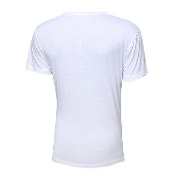 Color Block Letters Printed Round Neck Short Sleeve Men's T-Shirt - WHITE M