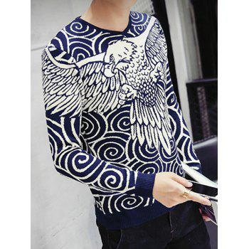 Eagle Swirl Pattern V-Neck Long Sleeve Men's Sweater - CADETBLUE L