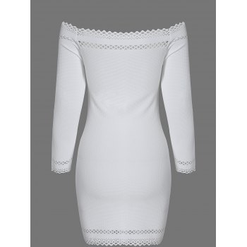 Off Shoulder Mini Long Sleeve Cocktail Bodycon Dress - WHITE M