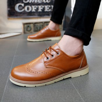 Fashionable Breathable and Lace-Up Design Men's Formal Shoes - LIGHT BROWN 41