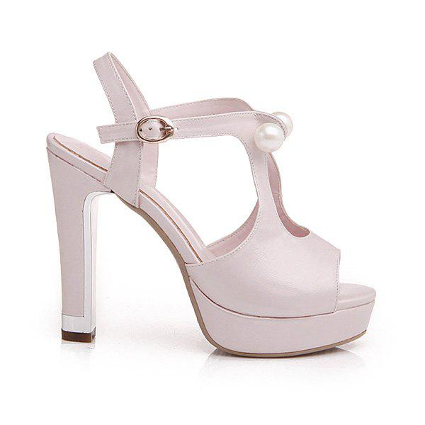 Trendy Faux Pearls and Platform Design Women's Sandals - PINK 39