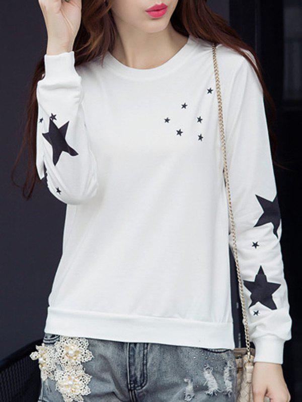 Star Graphic Long Sleeve T-Shirt - WHITE XL
