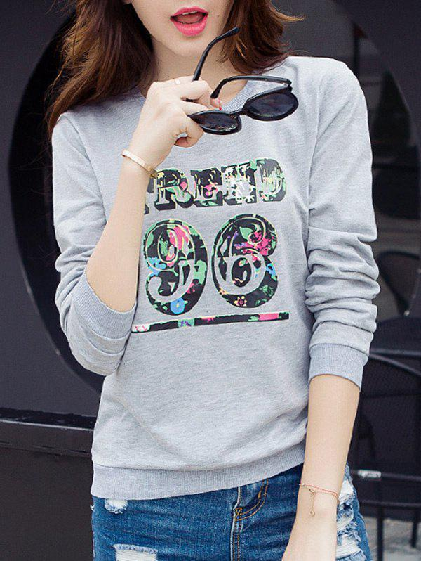 Brief Women's Number Print Long Sleeves T-Shirt - GRAY M