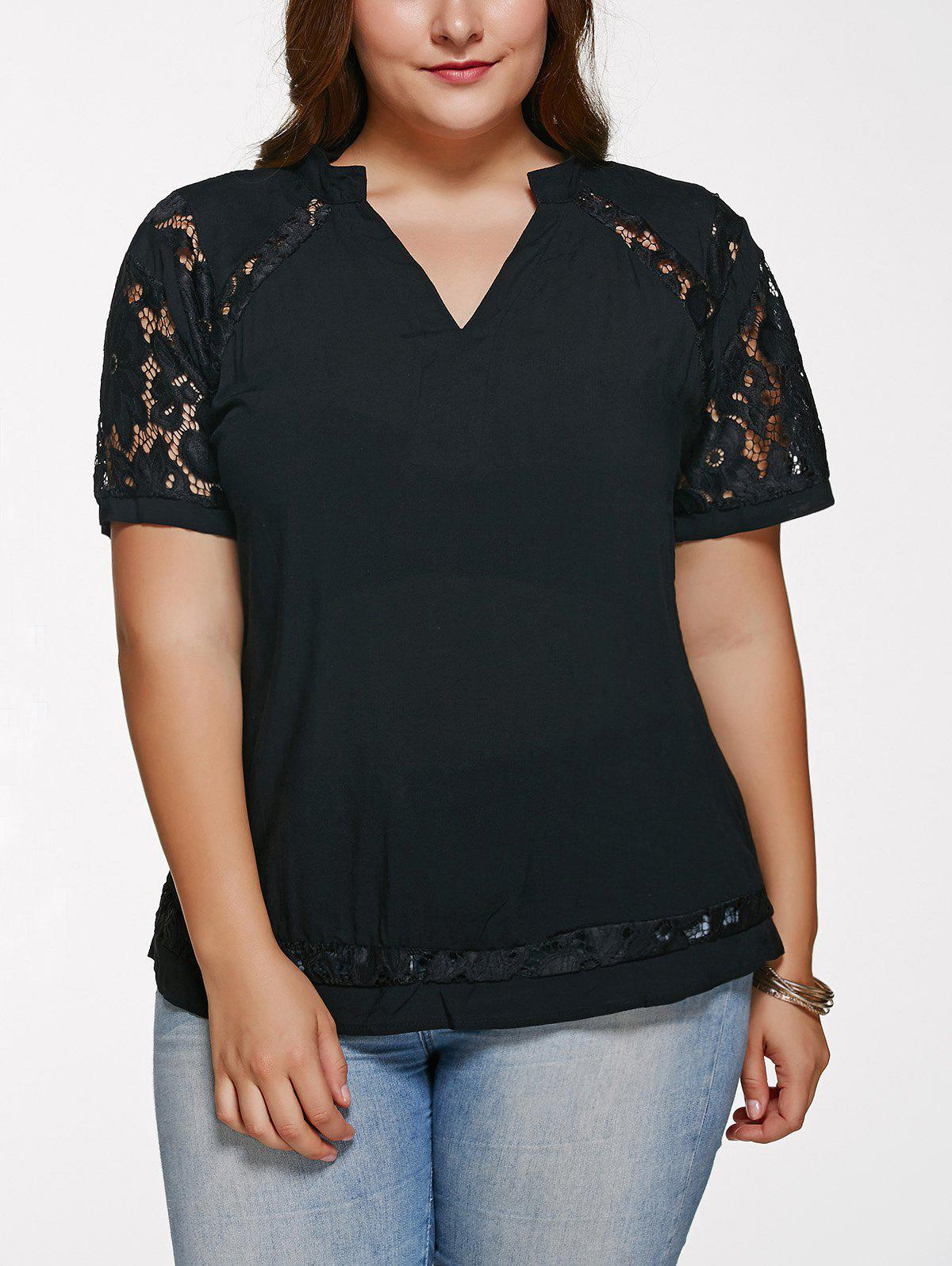 Chic V Neck Lace Splicing Plus Size T-Shirt