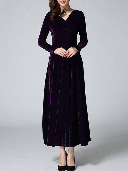 Velvet Empire Waist Long Evening Dress with Sleeves - PURPLE M