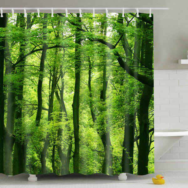 Hot Sale Eco-Friendly Green Woods Printing Shower Curtain For Bathroom - COLORMIX