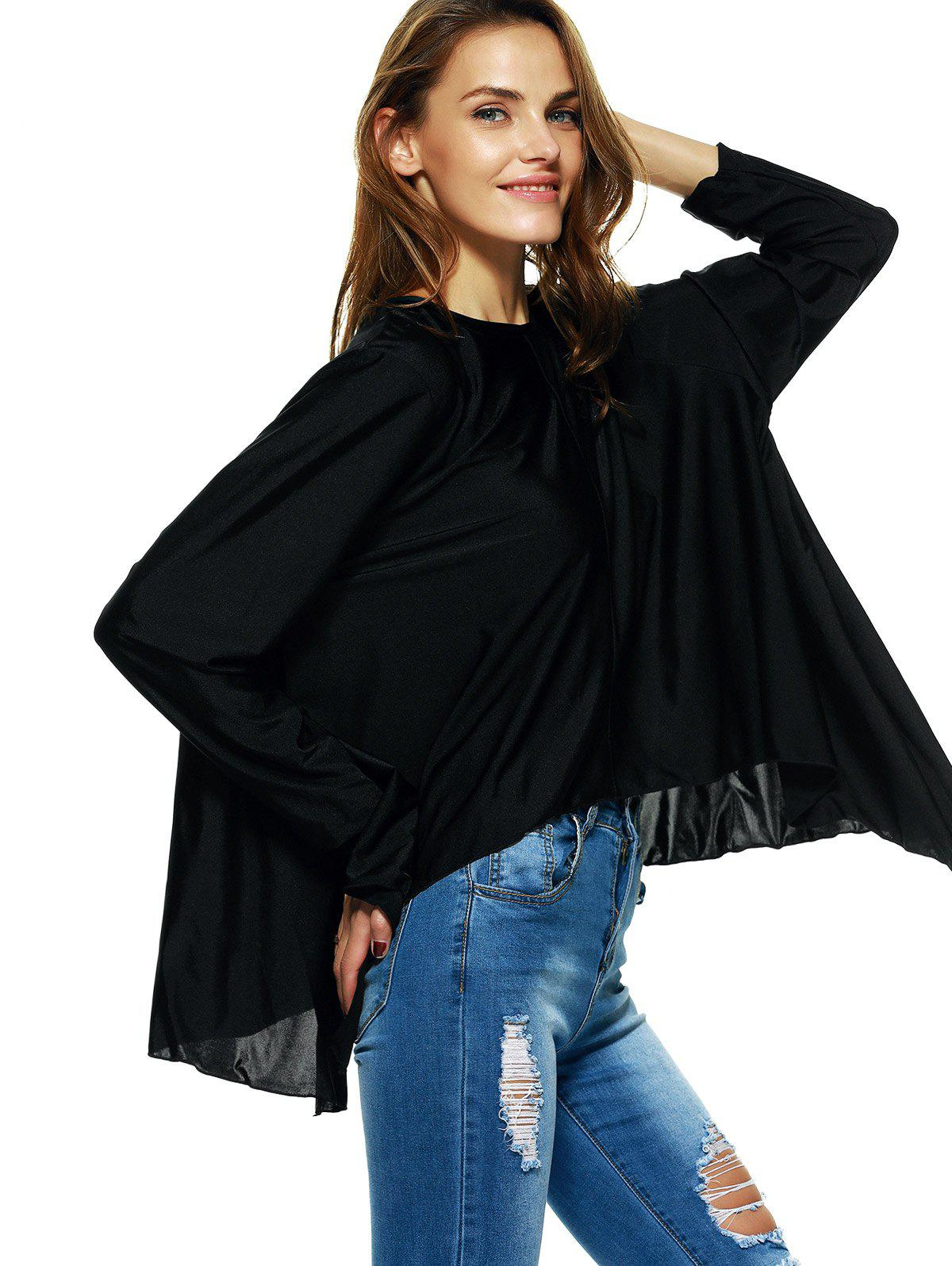 Streetwear Long Sleeve Asymmetric Loose Blouse - BLACK 2XL