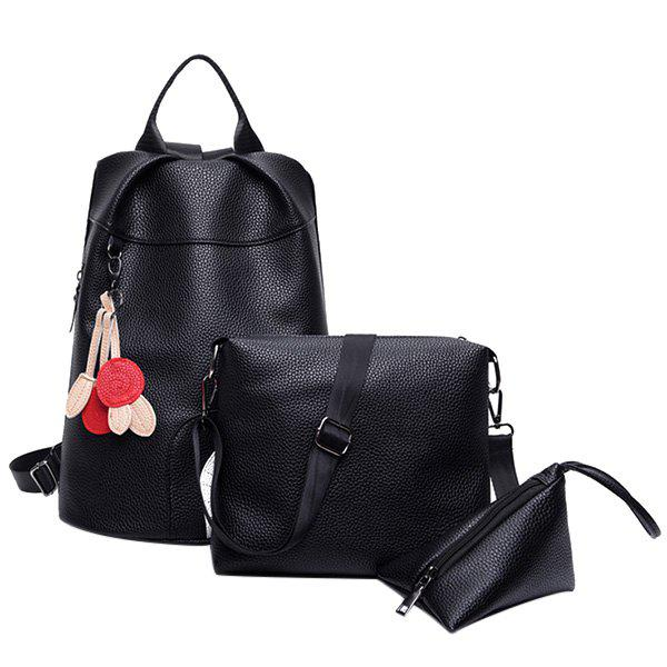 Trendy Color Splicing and Leaf Pattern Design Women's Backpack - BLACK