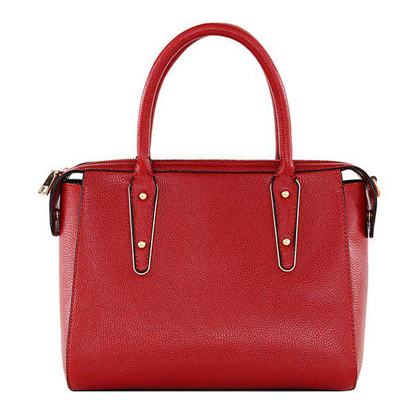 Fashion Metal and PU Leather Design Women's Tote Bag - RED