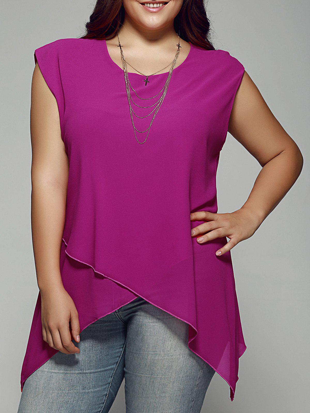 Plus Size Asymmetrical Chiffon Blouse - ROSE RED 4XL