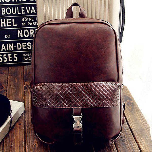 Stylish Solid Colour and Plaid Pattern Design Men's Backpack - DEEP BROWN