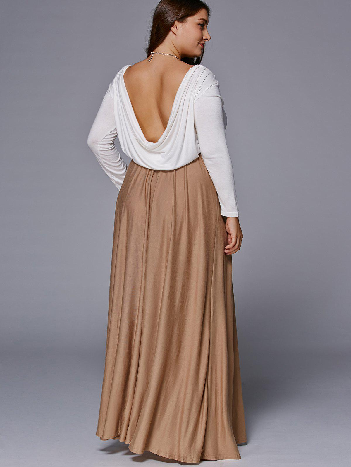 Chic Long Sleeve Plus Size Maxi Dress - COFFEE 5XL