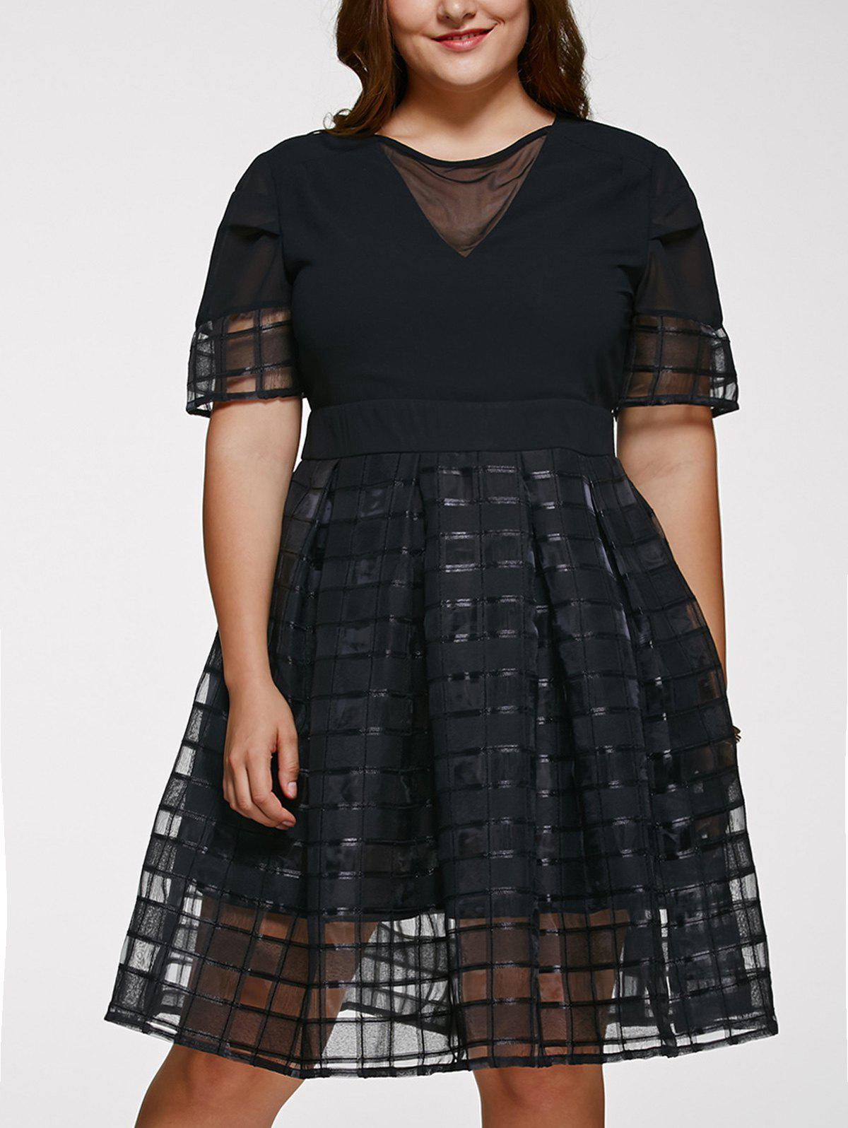 Chic Short Sleeve Plus Size See-Through Dress - BLACK 5XL