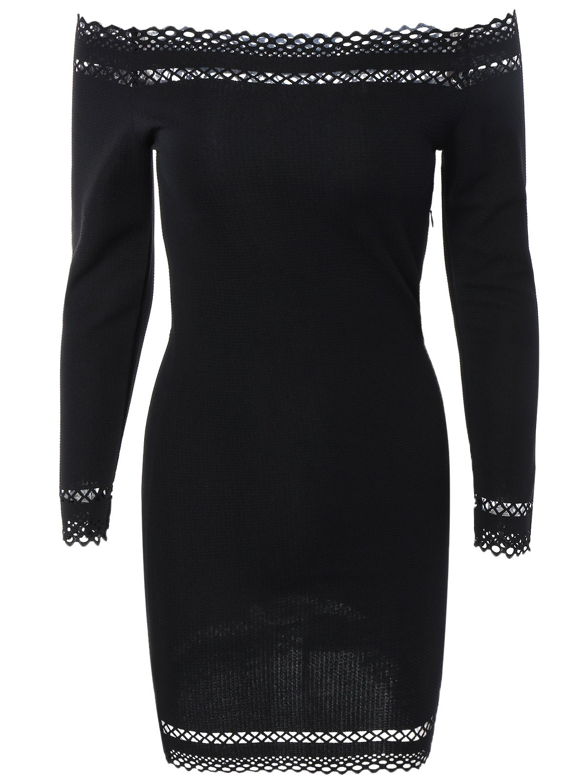 Off Shoulder Mini Long Sleeve Cocktail Bodycon Dress - BLACK M