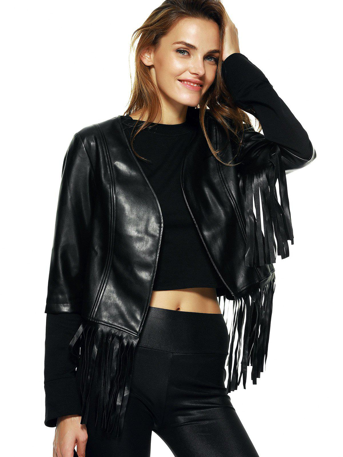 Streetwear Half Sleeve Fringe Black Faux Leather Jacket - BLACK 2XL